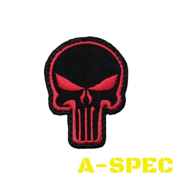 Нашивка череп карателя Punisher красно-черный