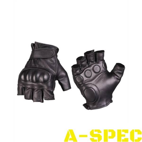 Перчатки тактические беспалые с защитой. Кожа