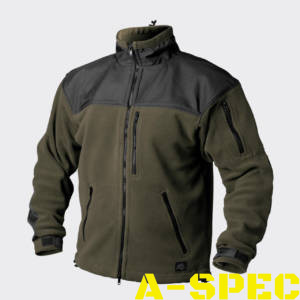 Флисовая куртка CLASSIC ARMY FLEECE олива-черный. Helikon-tex