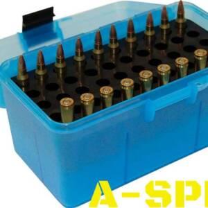 Коробка MTM H50-RS на 50 патронов кал 222 Rem и 223 Rem голубой