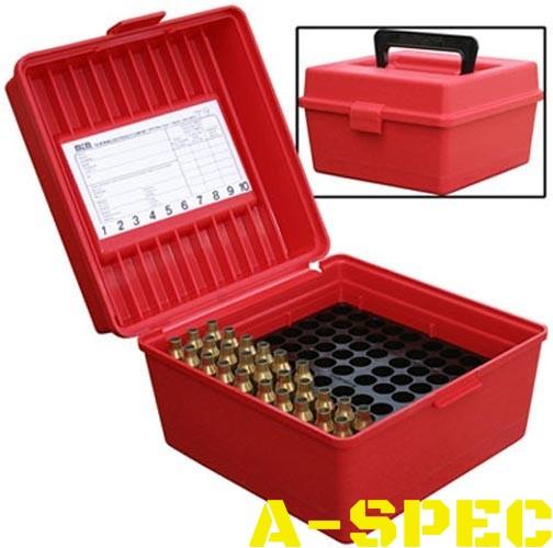 Коробка MTM R-100-MAG на 100 патронов кал. 300 Win Mag; 300 WSM; 338 Win Mag; 444 Marlin; 9,3x62. Цвет – красный.
