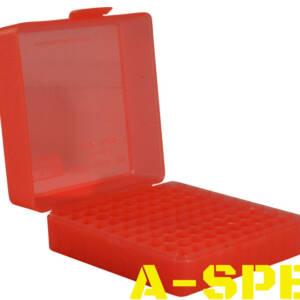 Коробка MTM для патронов кал 17 HMR 22WMR на 100 патронов красный
