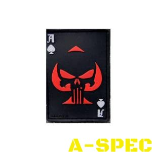 Патч резиновый Punisher череп пиковый красный