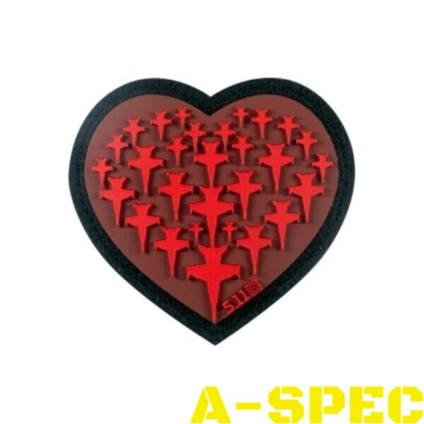 Морал патч 5.11 Tactical Airplane Heart Patch Red