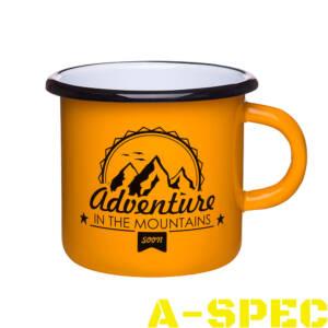 """Эмалированная кружка приключения ждут """"Adventure in the mountains"""""""